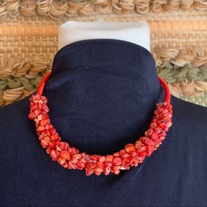 🎉5/20 SALE🎉 VTG red stone rope cluster necklace